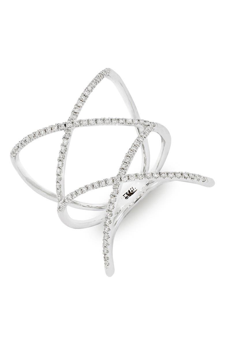 BONY LEVY Diamond Double Crisscross Ring, Main, color, WHITE GOLD