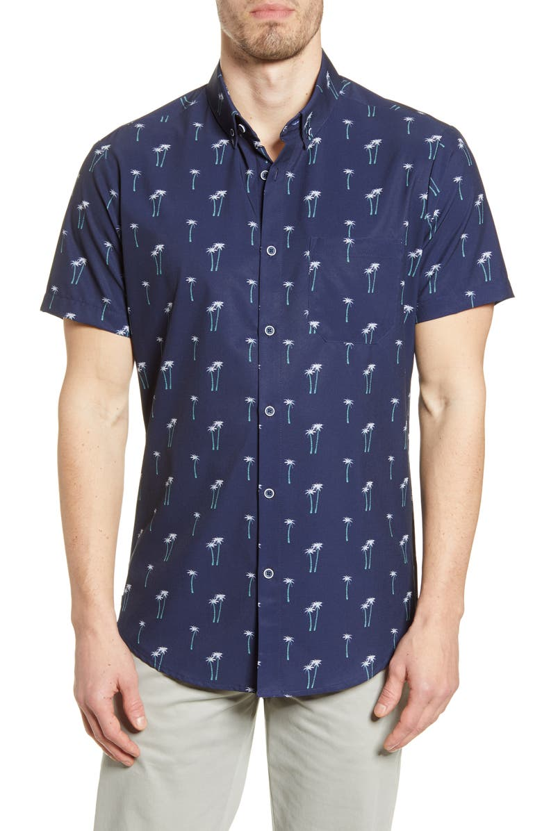 MIZZEN+MAIN Leeward Trim Fit Short Sleeve Button-Down Performance Shirt, Main, color, NAVY PALM TREE PRINT