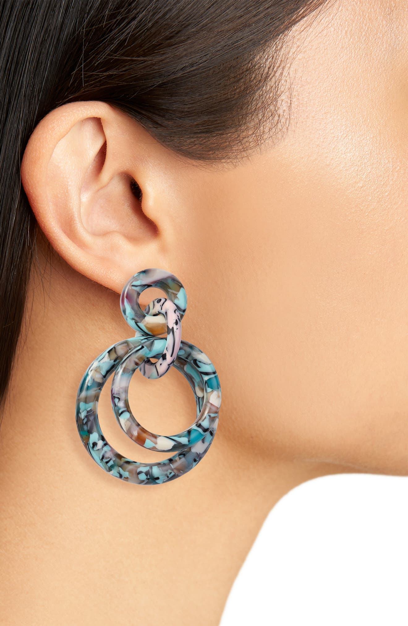 ,                             Double Ring Hoop Earrings,                             Alternate thumbnail 2, color,                             TURQUOISE CONFETTI