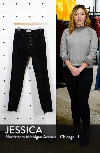 9-Inch Button Ankle Skinny Jeans, sales video thumbnail