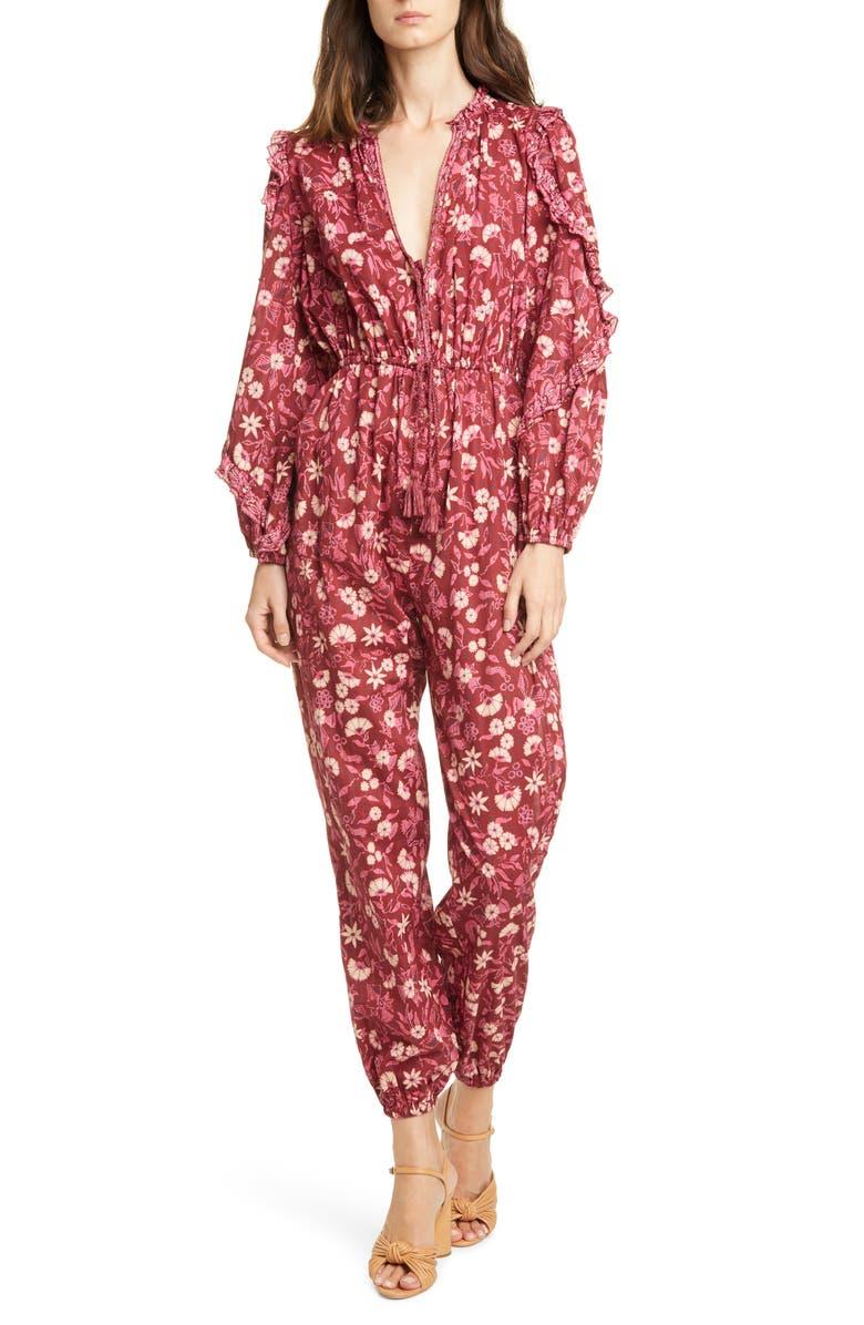 ULLA JOHNSON Delphine Floral Jumpsuit, Main, color, BURGUNDY