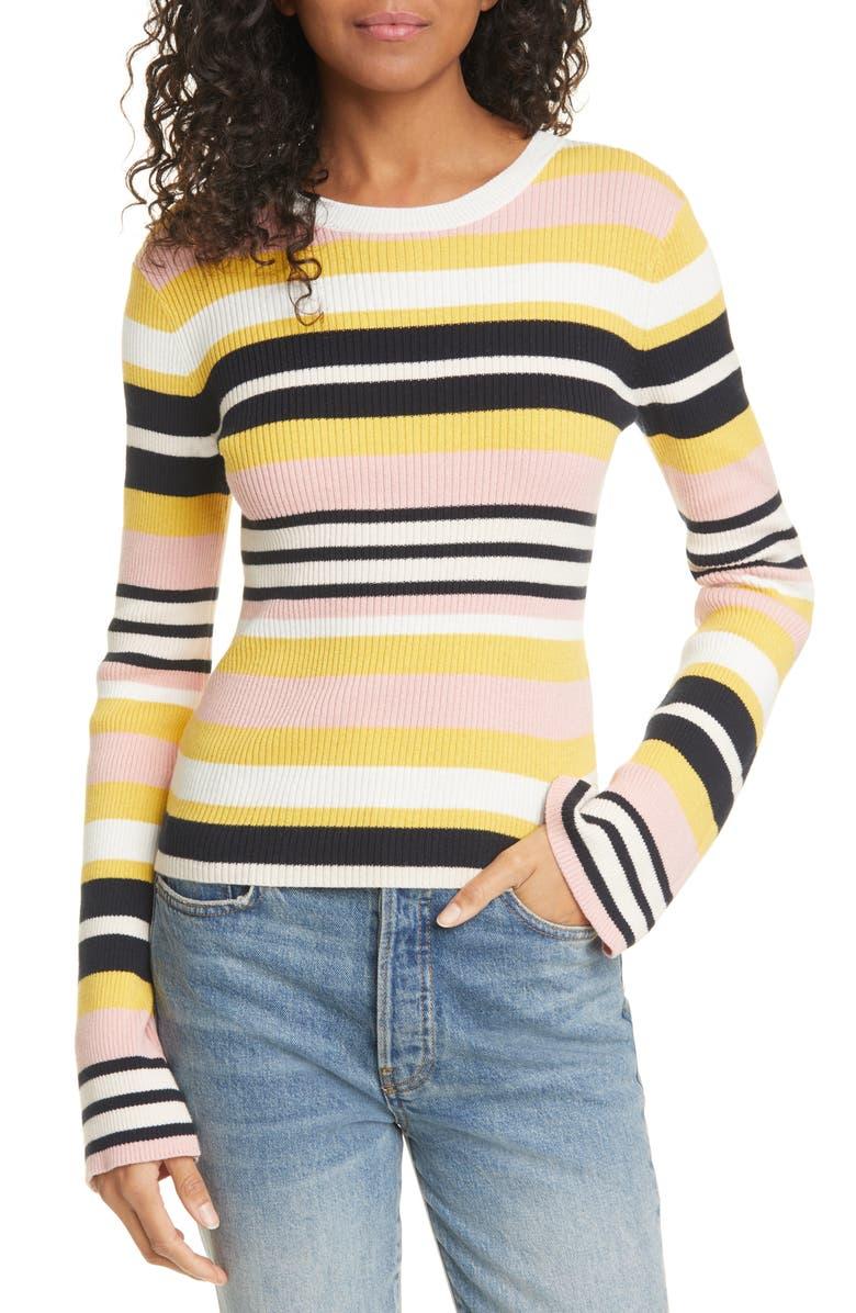 FRAME Baja Stripe Cotton & Cashmere Sweater, Main, color, 840