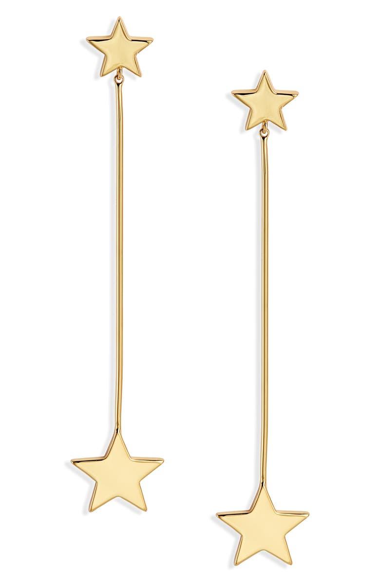 STELLA + RUBY Linear Star Earrings, Main, color, GOLD