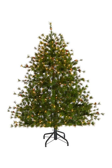 Image of NEARLY NATURAL 5ft. Colorado Mountain Pine Artificial Christmas Tree with 250 Clear Lights & Pine Cones