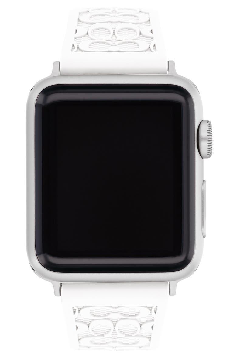 COACH Signature C Rubber Apple Watch<sup>®</sup> Strap, Main, color, WHITE