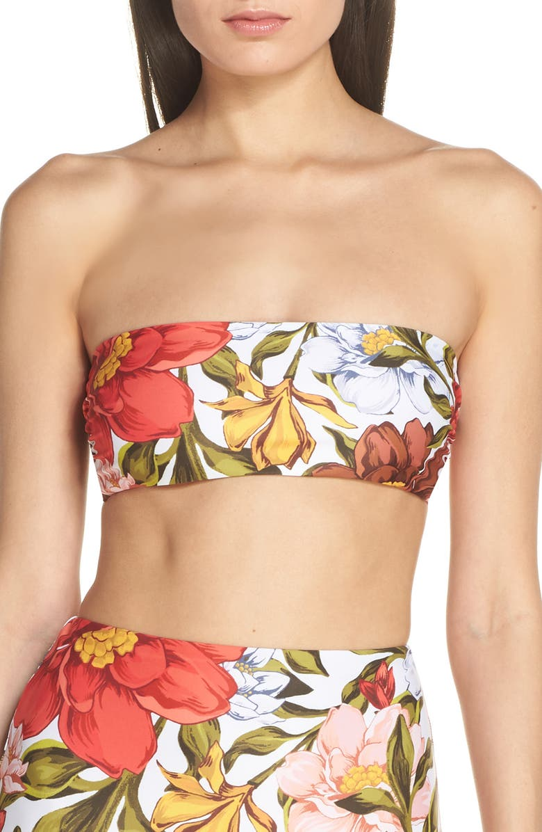 MARA HOFFMAN Abigail Bandeau Bikini Top, Main, color, WHITE MULTI