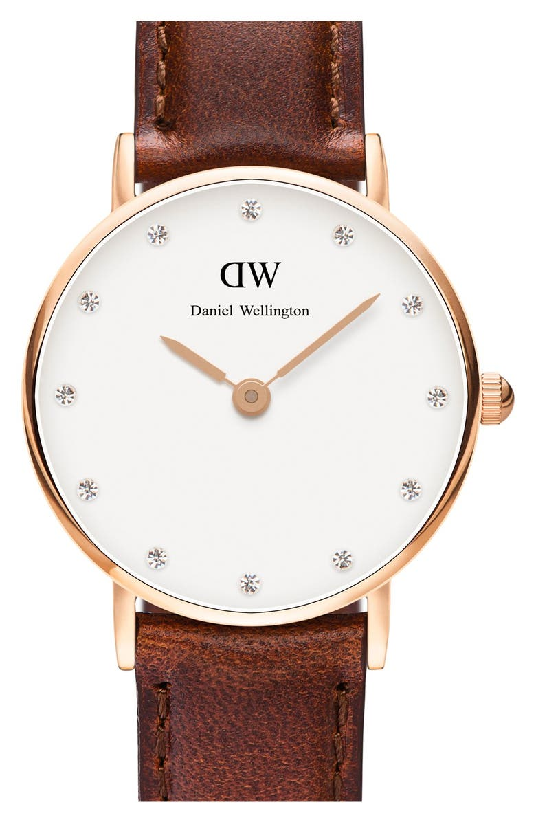 DANIEL WELLINGTON 'Classy St. Mawes' Crystal Index Leather Strap Watch, 26mm, Main, color, 200