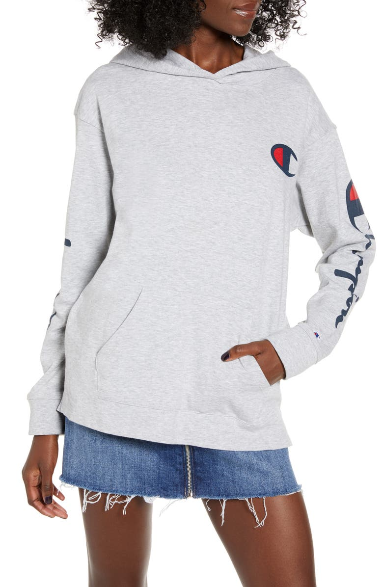 CHAMPION Logo Sleeve Hoodie, Main, color, OXFORD GREY