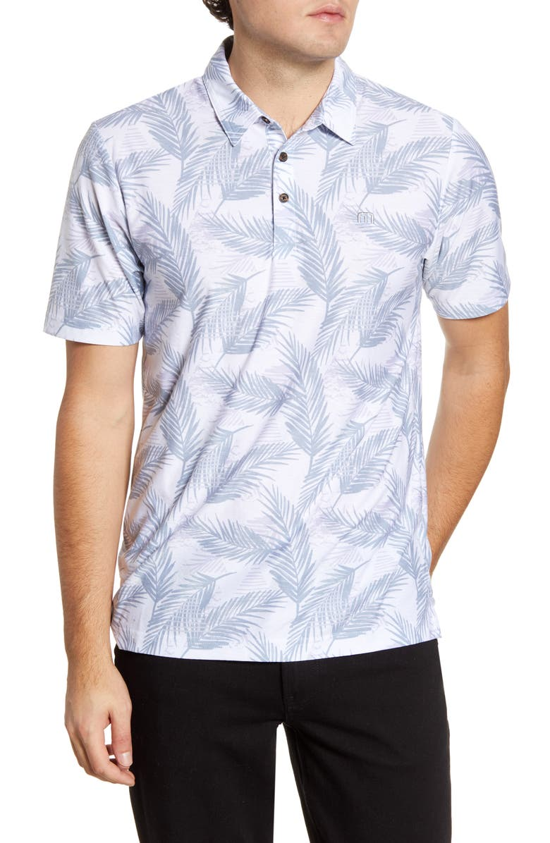 TRAVISMATHEW Saucey Regular Fit Tropical Short Sleeve Button-Up Shirt, Main, color, WHITE