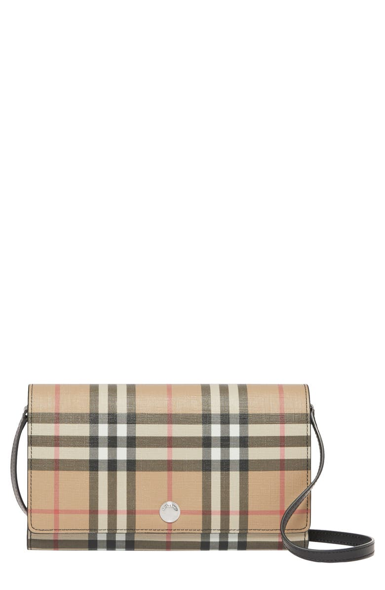 BURBERRY Hannah Vintage Check Wallet on a Chain, Main, color, BEIGE/ BLACK