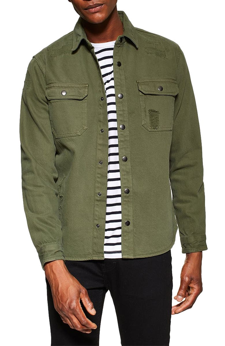 TOPMAN Denim Slim Fit Shirt, Main, color, OLIVE
