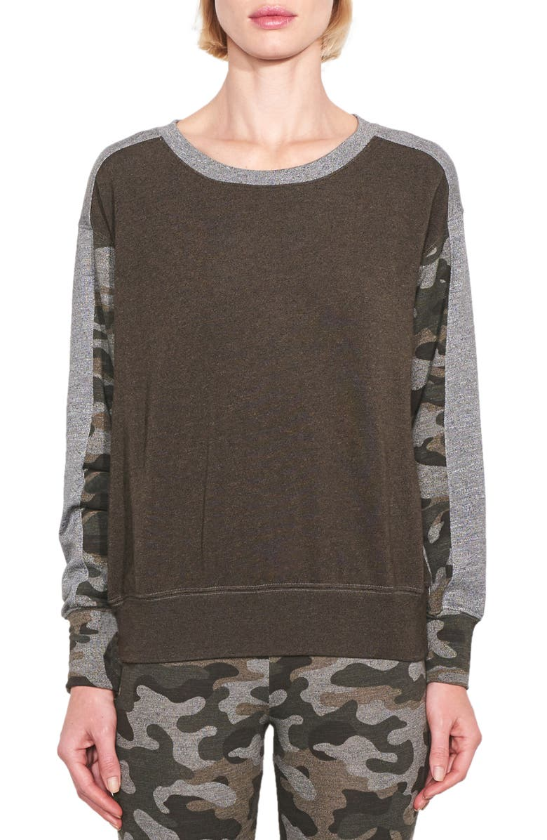 SUNDRY Camo Colorblock Sweatshirt, Main, color, 319