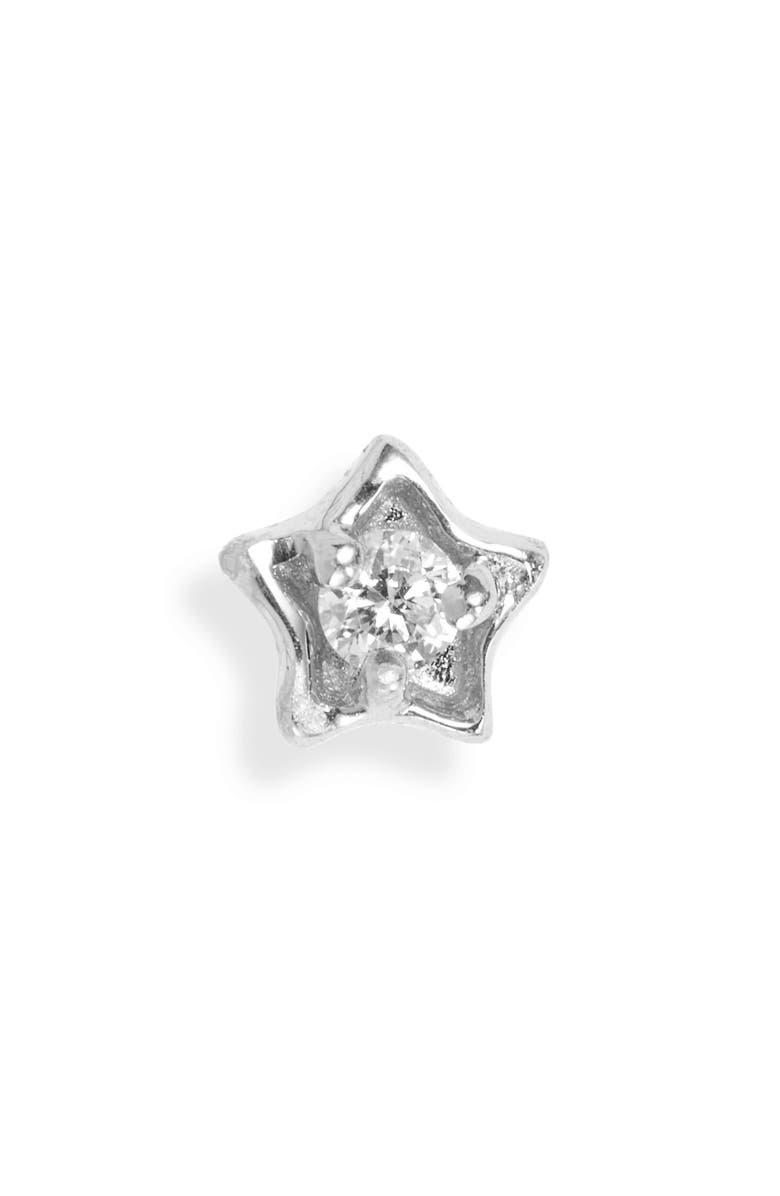 MARIA TASH Diamond Solitaire Star Stud Earring, Main, color, WHITE GOLD/ DIAMOND