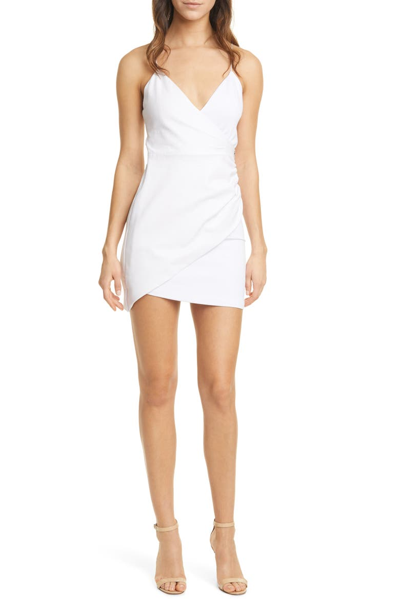 ALICE + OLIVIA Ashanti Leather Combo Minidress, Main, color, WHITE
