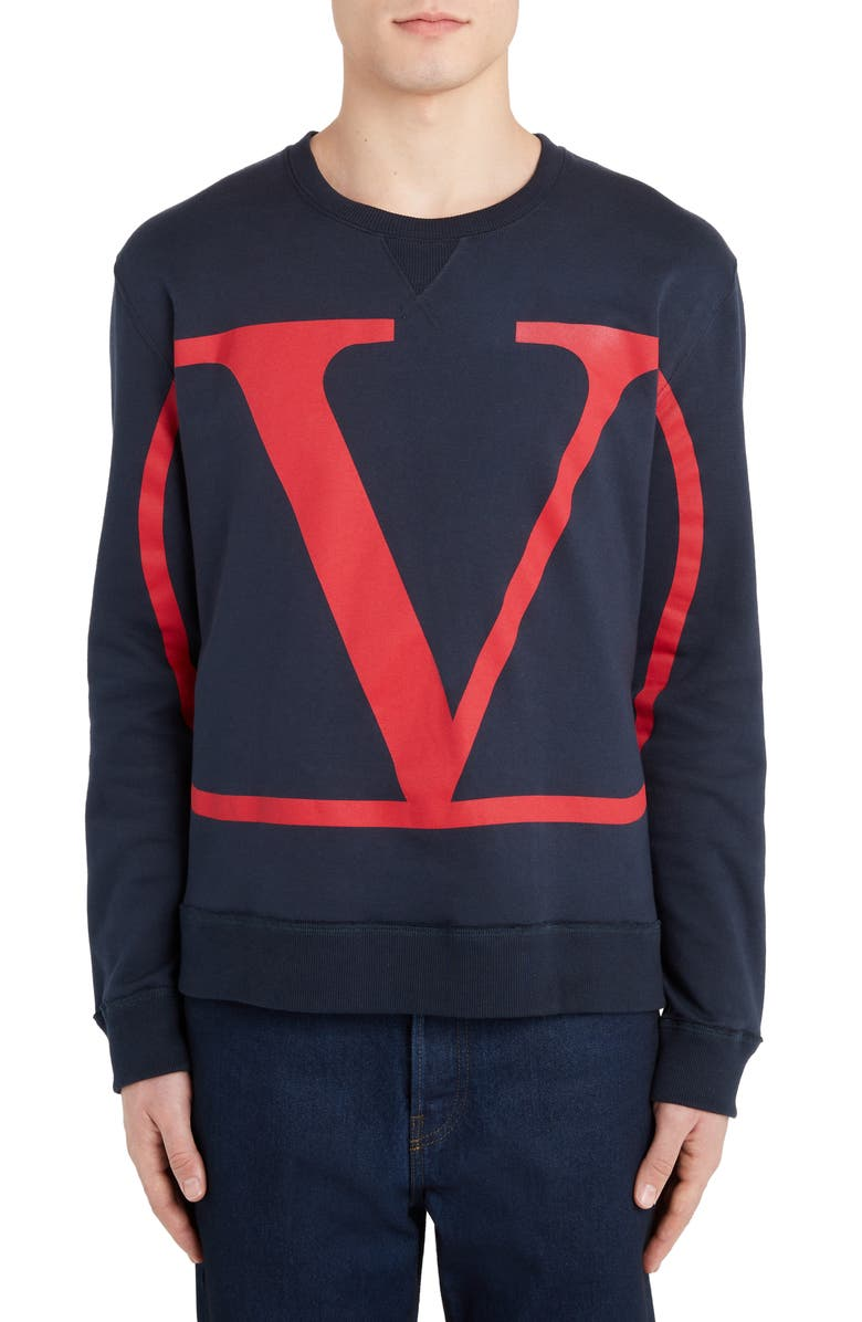 VALENTINO V-Logo Graphic Sweatshirt, Main, color, NAVY/ RED