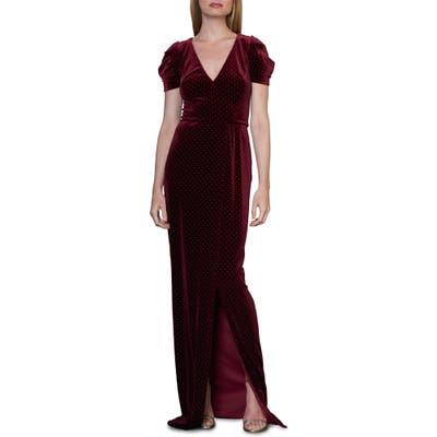 Ml Monique Lhuillier Studded Velvet Gown, Burgundy