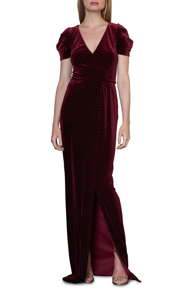 ML MONIQUE LHUILLIER Studded Velvet Gown, Main, color, BORDEAUX/ GOLD COMBO