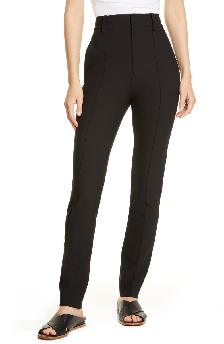 VINCE High Waist Stretch Cotton Cigarette Pants, Main, color, BLACK