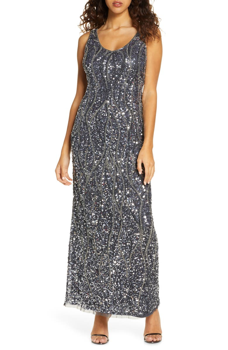 PISARRO NIGHTS Sequin & Bead Sleeveless Gown, Main, color, SLATE