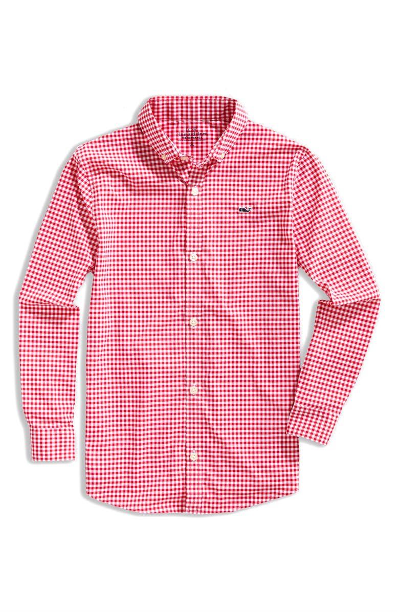 VINEYARD VINES Arawak Gingham Whale Performance Button-Down Shirt, Main, color, RED VELVET