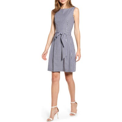 Anne Klein Gingham Fit & Flare Dress, Blue