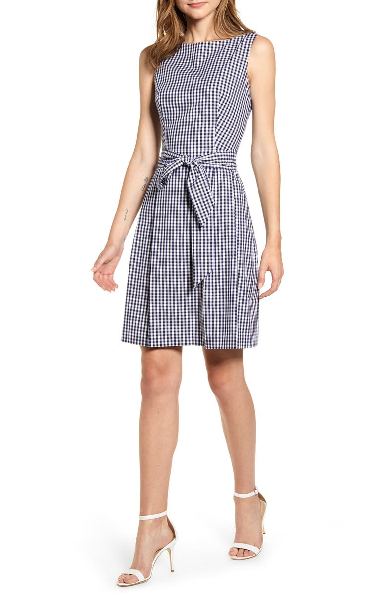 ANNE KLEIN Gingham Fit & Flare Dress, Main, color, 420