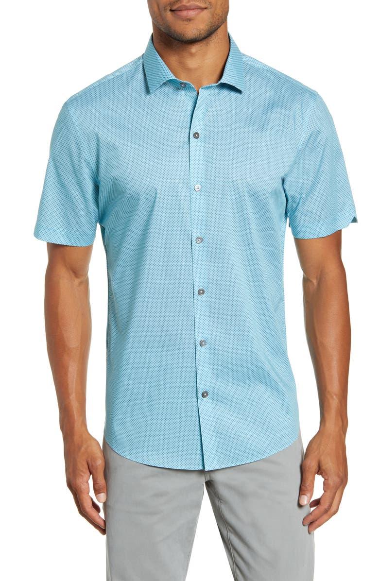 ZACHARY PRELL Ehlinger Regular Fit Short Sleeve Button-Up Sport Shirt, Main, color, AQUA