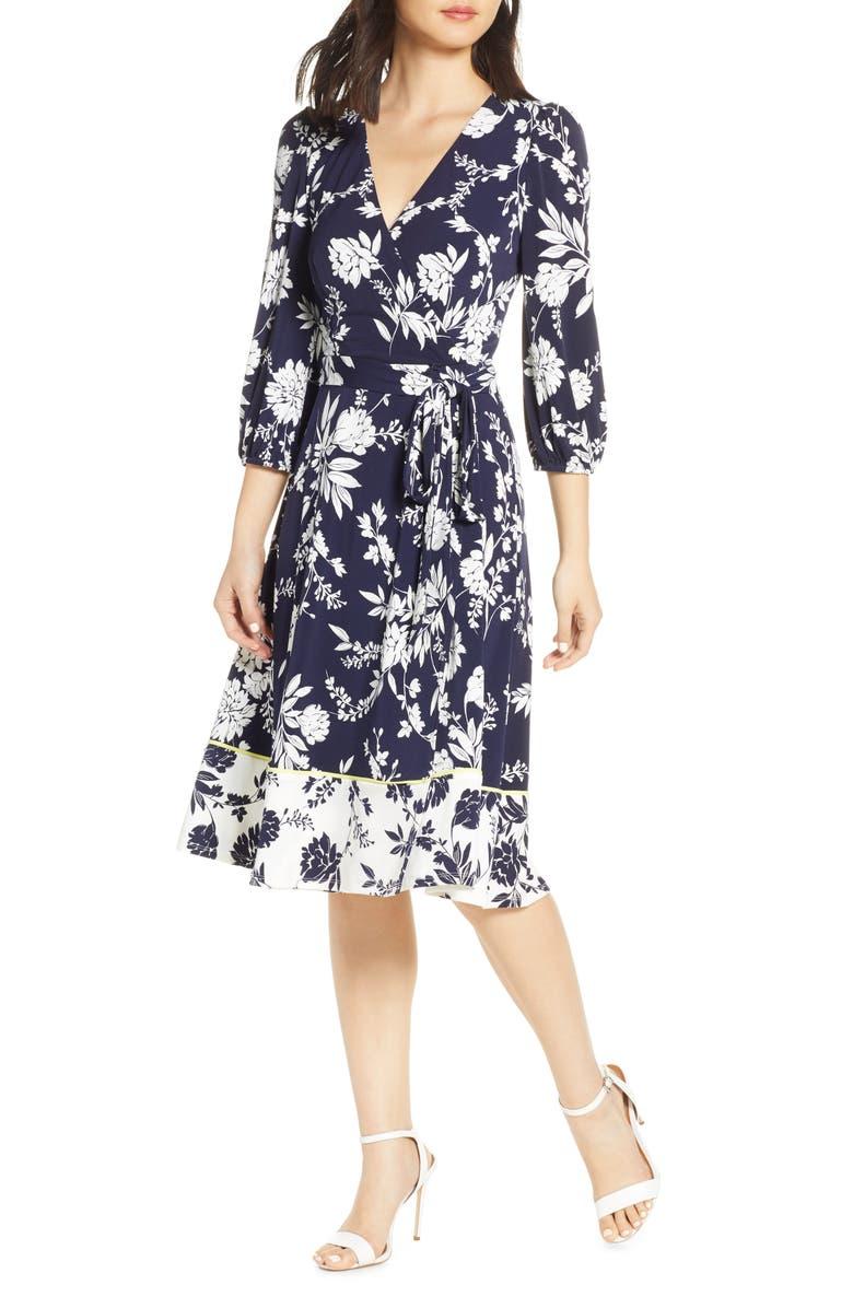 Floral Print Faux Wrap Dress, Main, color, NAVY/ IVORY