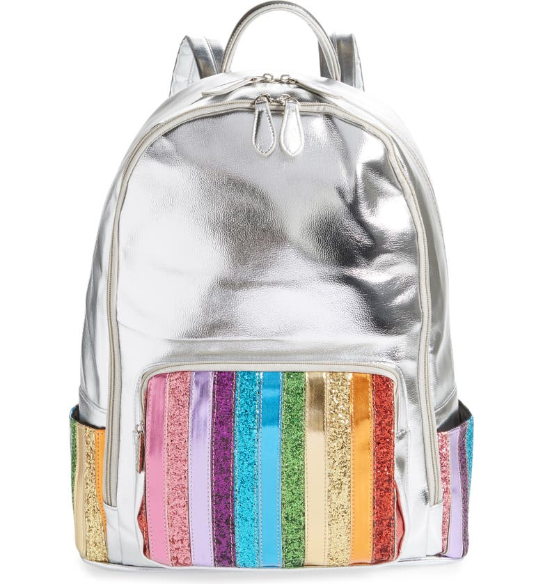 BARI LYNN Rainbow Glitter Metallic Backpack, Main, color, MULTI