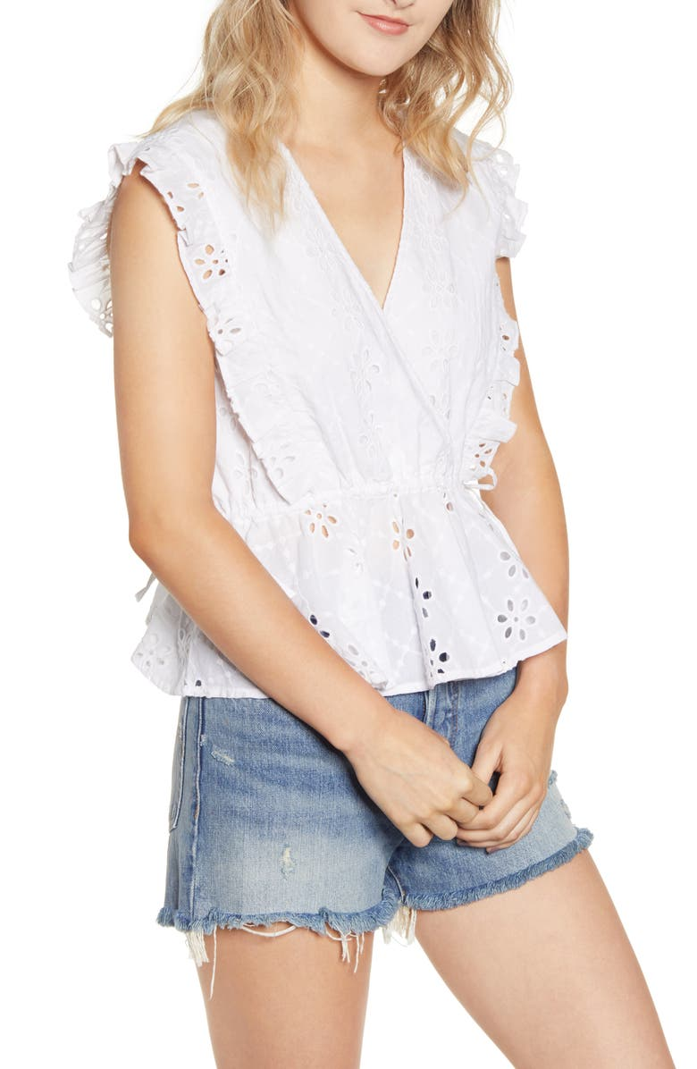 MINKPINK All Your Own Broderie Anglaise Top, Main, color, WHITE