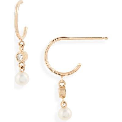 Zoe Chicco Diamond & Pearl Drop Huggie Hoop Earrings