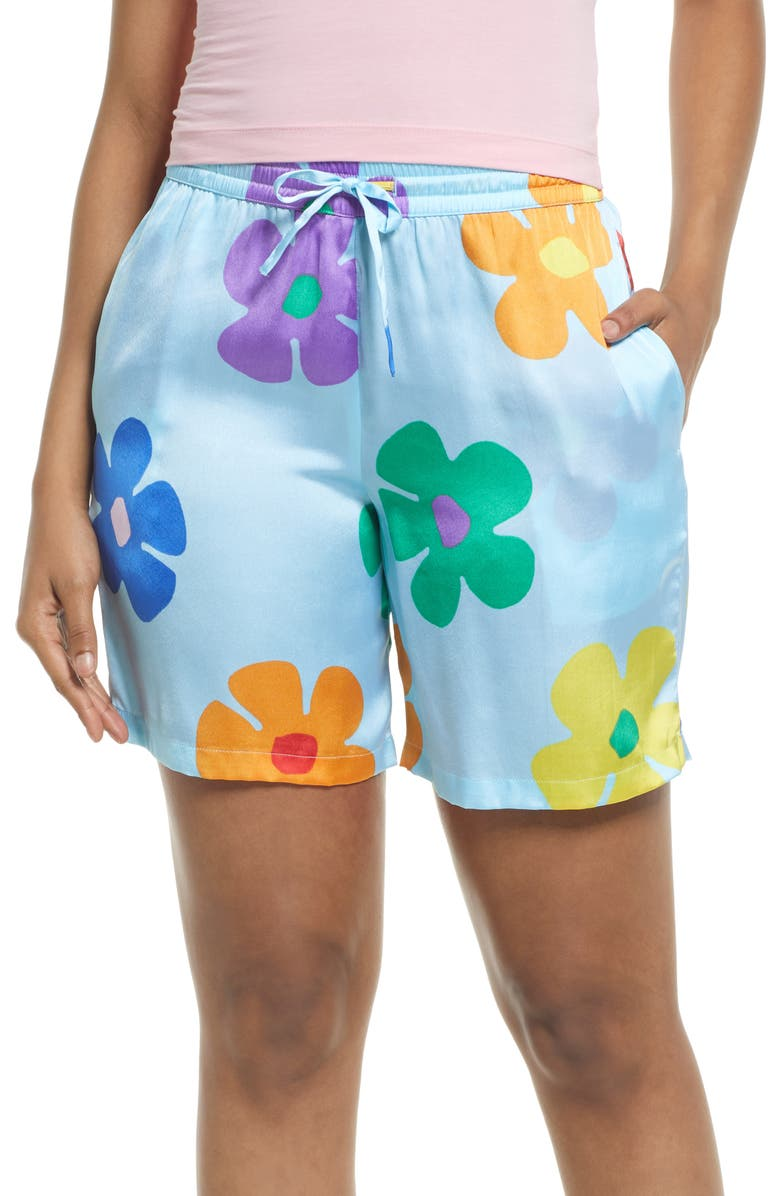 BP. Be Proud by BP Gender Inclusive Satin Shorts, Main, color, BLUE MULTI GROOVE DAISY