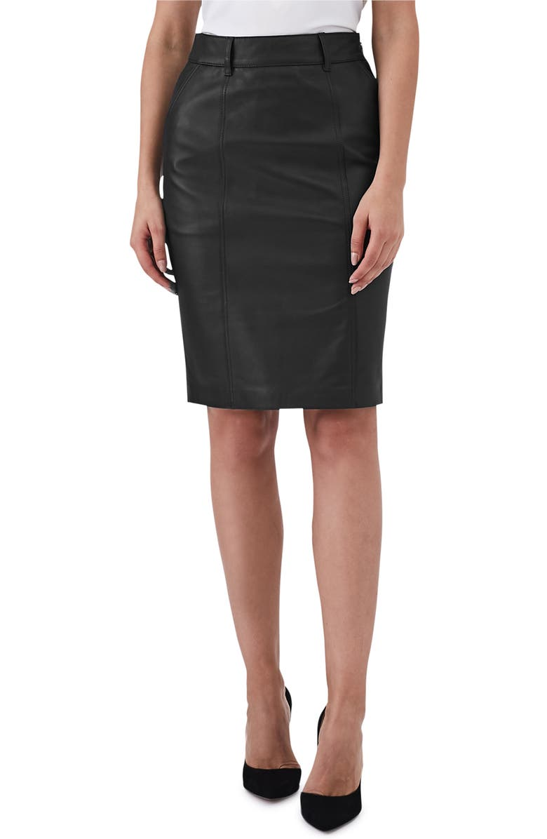 Reiss Kara Leather Pencil Skirt