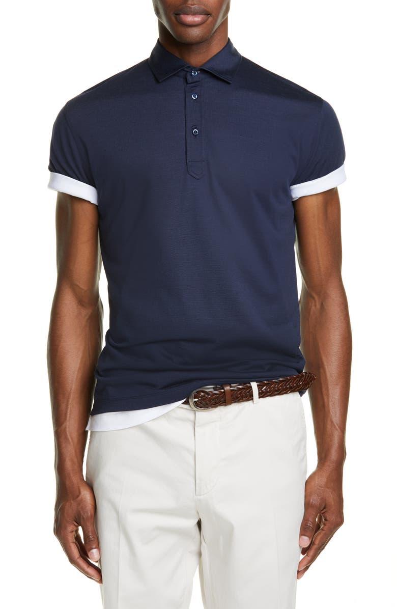 BRUNELLO CUCINELLI Silk & Cotton Polo Shirt, Main, color, OCEAN BLUE