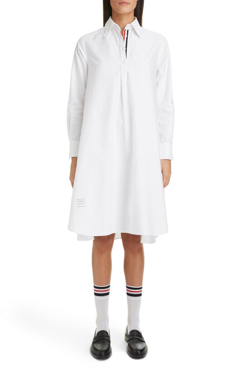 THOM BROWNE Collage Circle Shirtdress, Main, color, WHITE