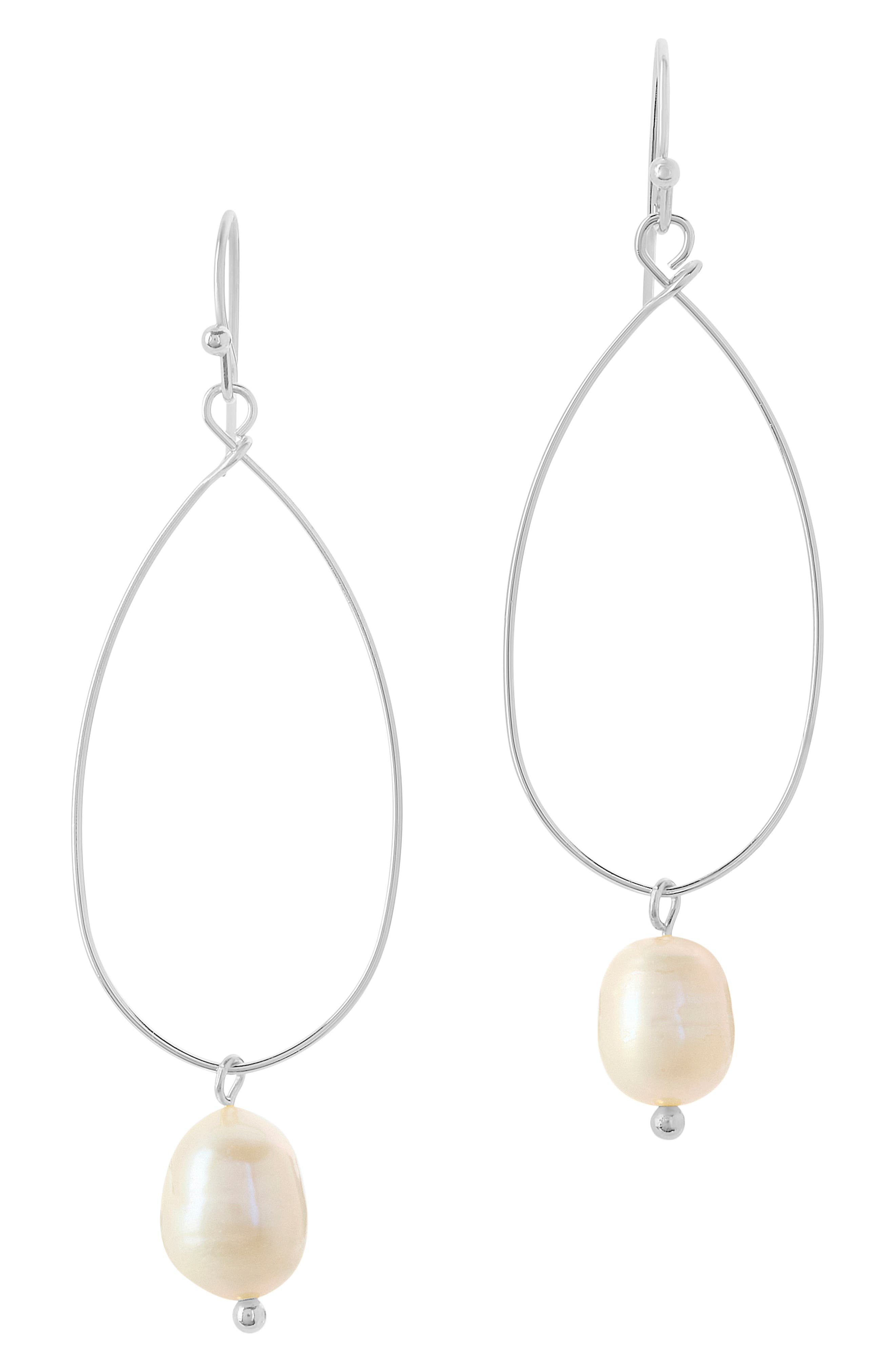 Single baroque pearls add a drop of luster to these delicate earrings crafted in an, airy open oval shape. Style Name: Sterling Forever Genuine Pearl Teardrop Earrings. Style Number: 6114458. Available in stores.