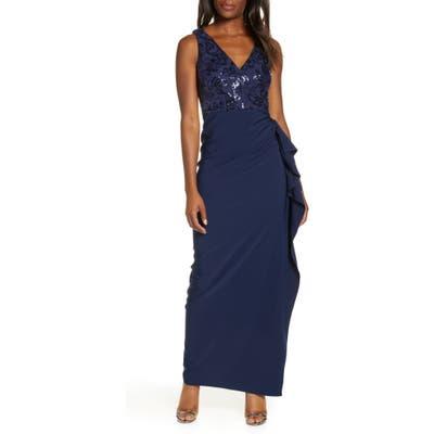 Vince Camuto Sequin Bodice Laguna Crepe Gown, Blue