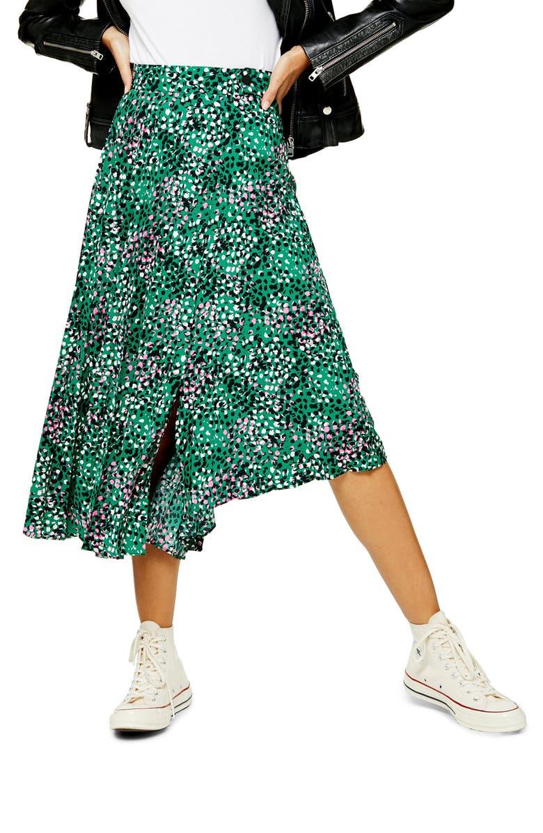 TOPSHOP Painted Spot Pleat Midi Skirt, Main, color, GREEN MULTI