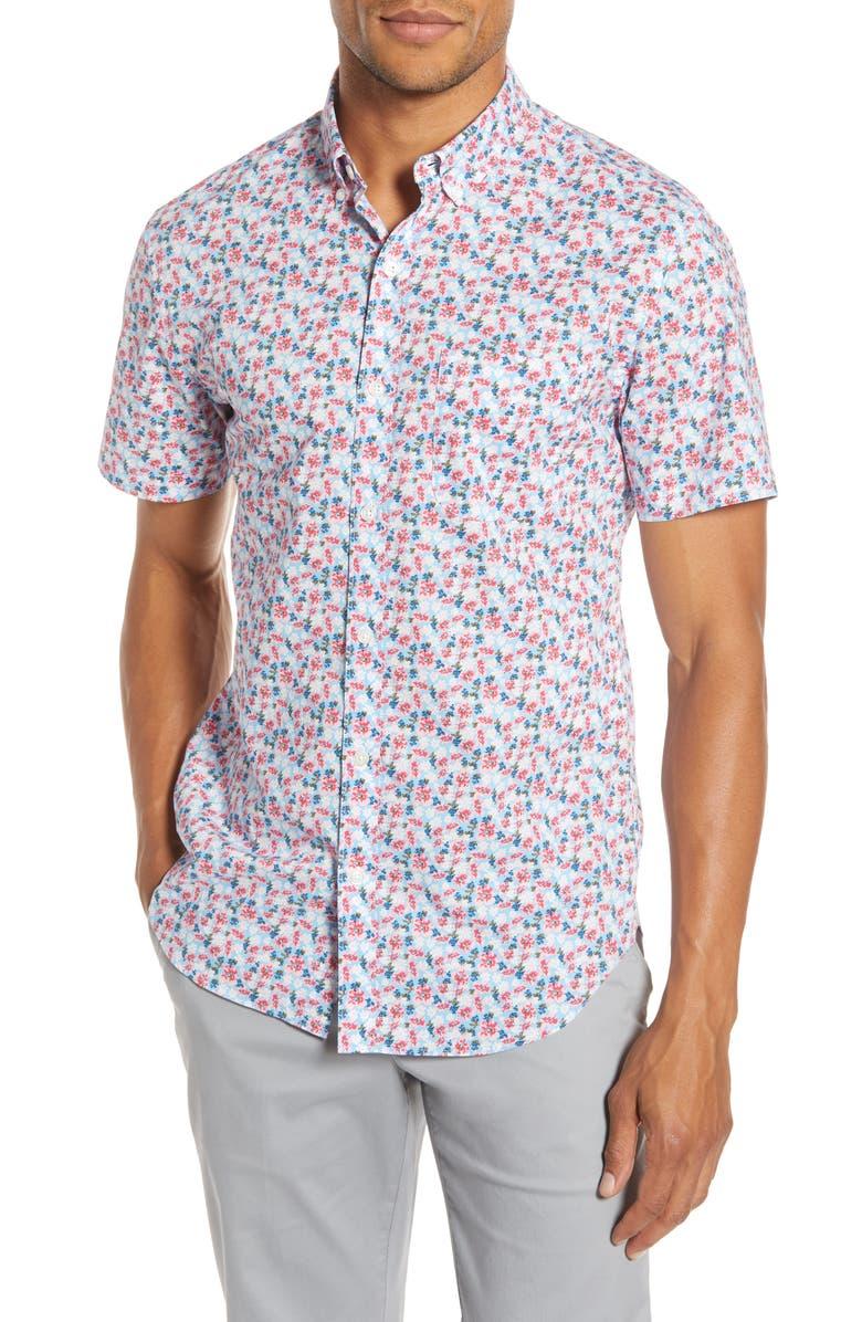 BONOBOS Slim Fit Floral Print Cotton Button-Up Shirt, Main, color, LANAI FLORAL - MALLORACA PINK
