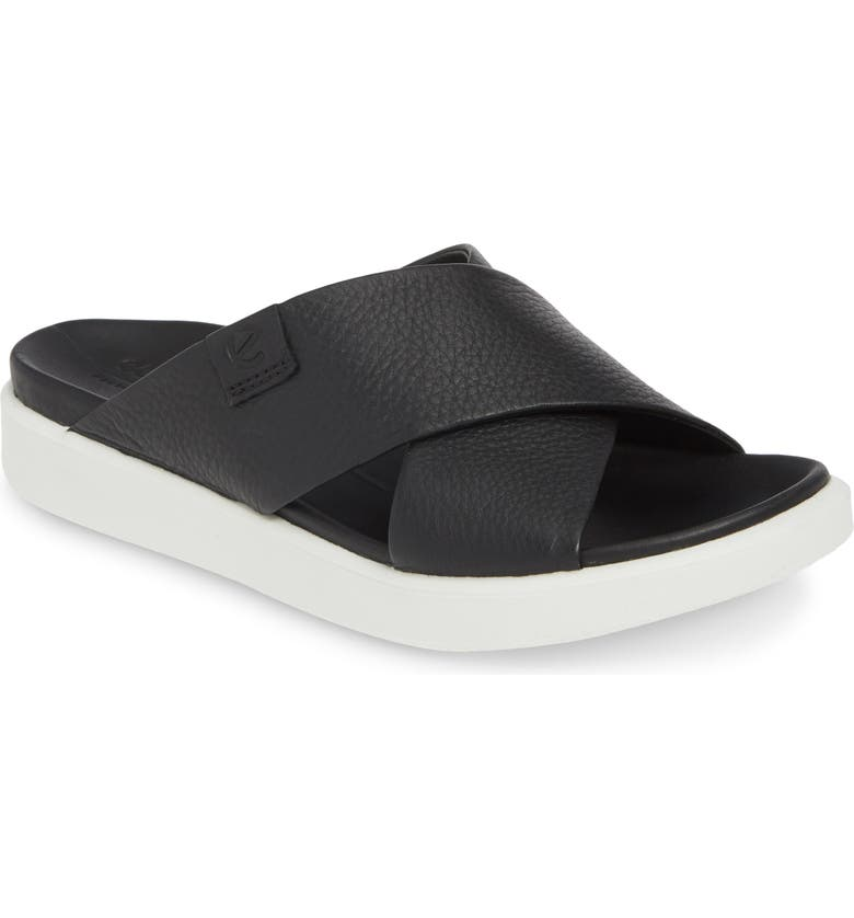 ECCO Flowt LX Slide Sandal, Main, color, BLACK LEATHER
