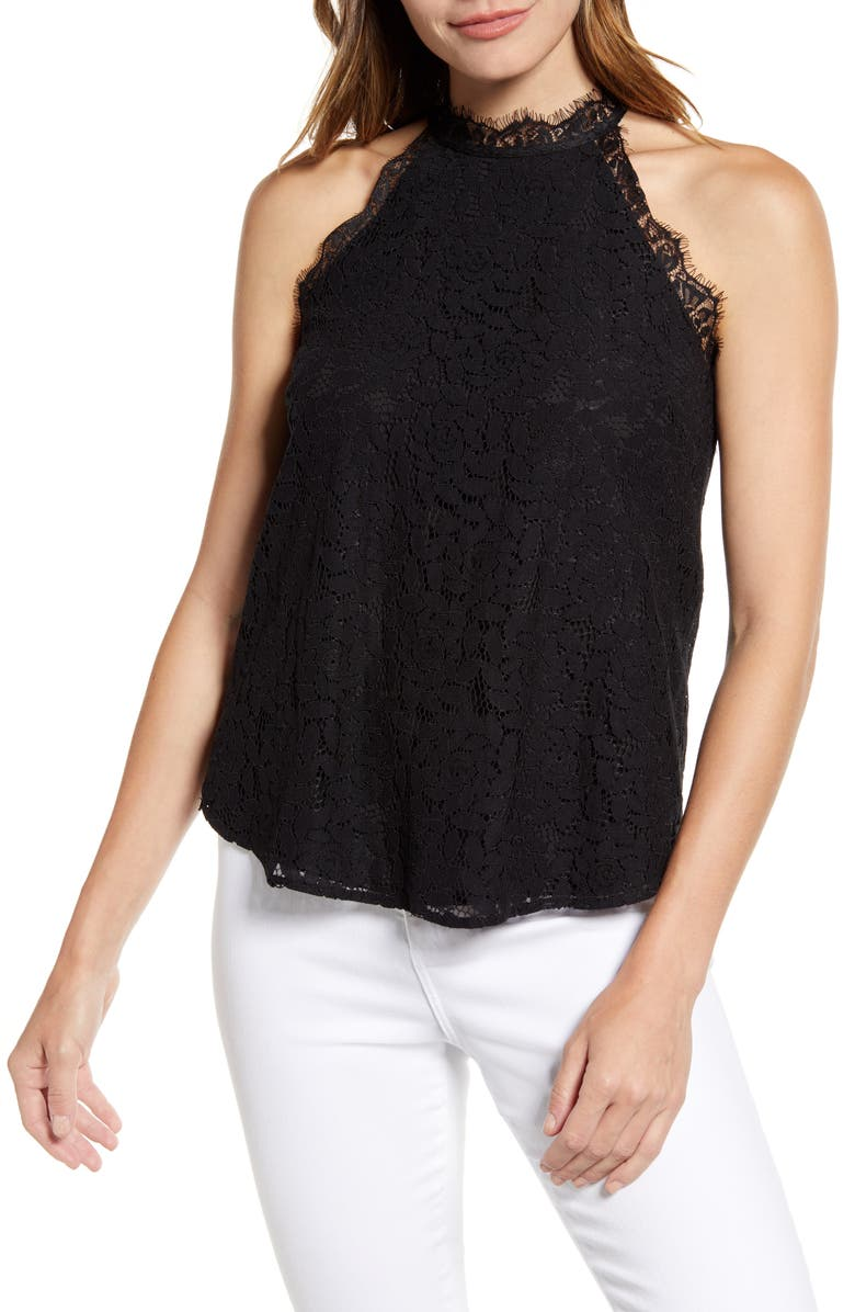 GIBSON x Hot Summer Nights Almost Ready Lace Trim Sleeveless Top, Main, color, BLACK