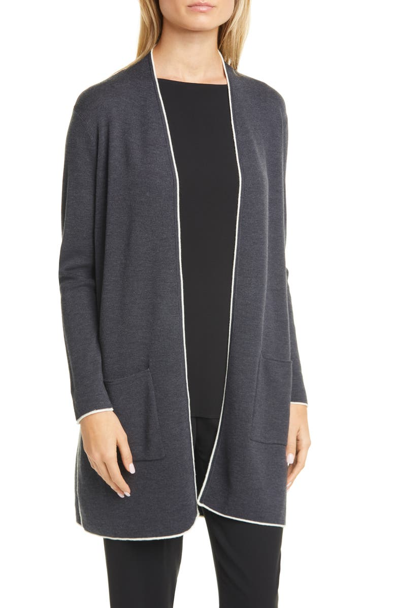 EILEEN FISHER Merino Wool Long Cardigan, Main, color, CHARCOAL