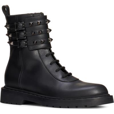 Valentino Garavani Rockstud Buckle Combat Boot, Black