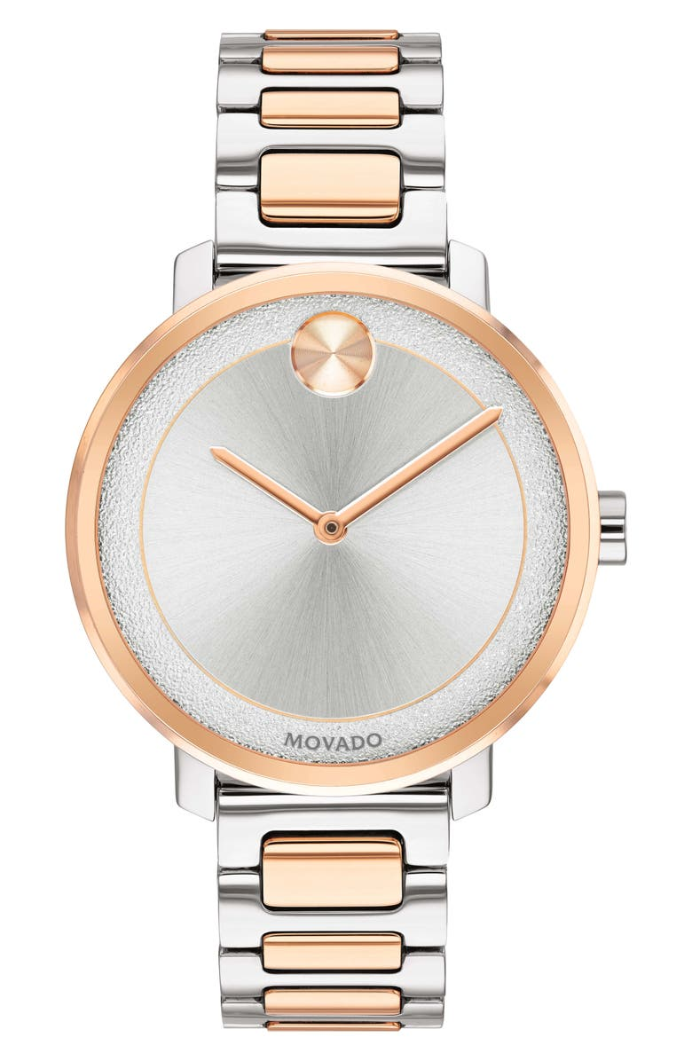 MOVADO Bold Bracelet Watch, 34mm, Main, color, SILVER/ ROSE GOLD