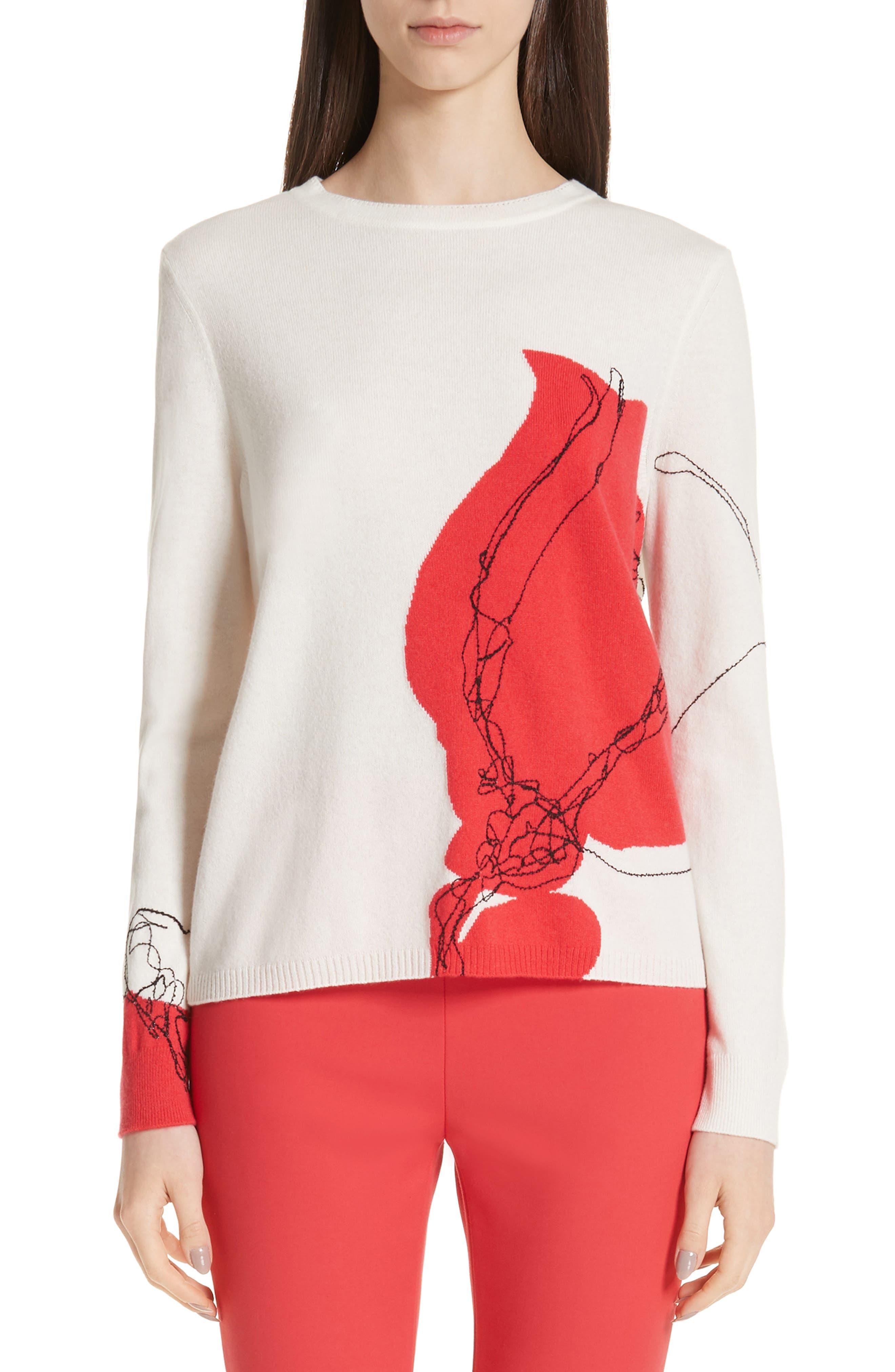 Intarsia Knit Cashmere Jersey Sweater, Main, color, CREAM/ CRIMSON