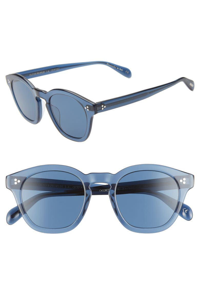 OLIVER PEOPLES Boudreau 48mm Round Sunglasses, Main, color, BLUE/BLUE