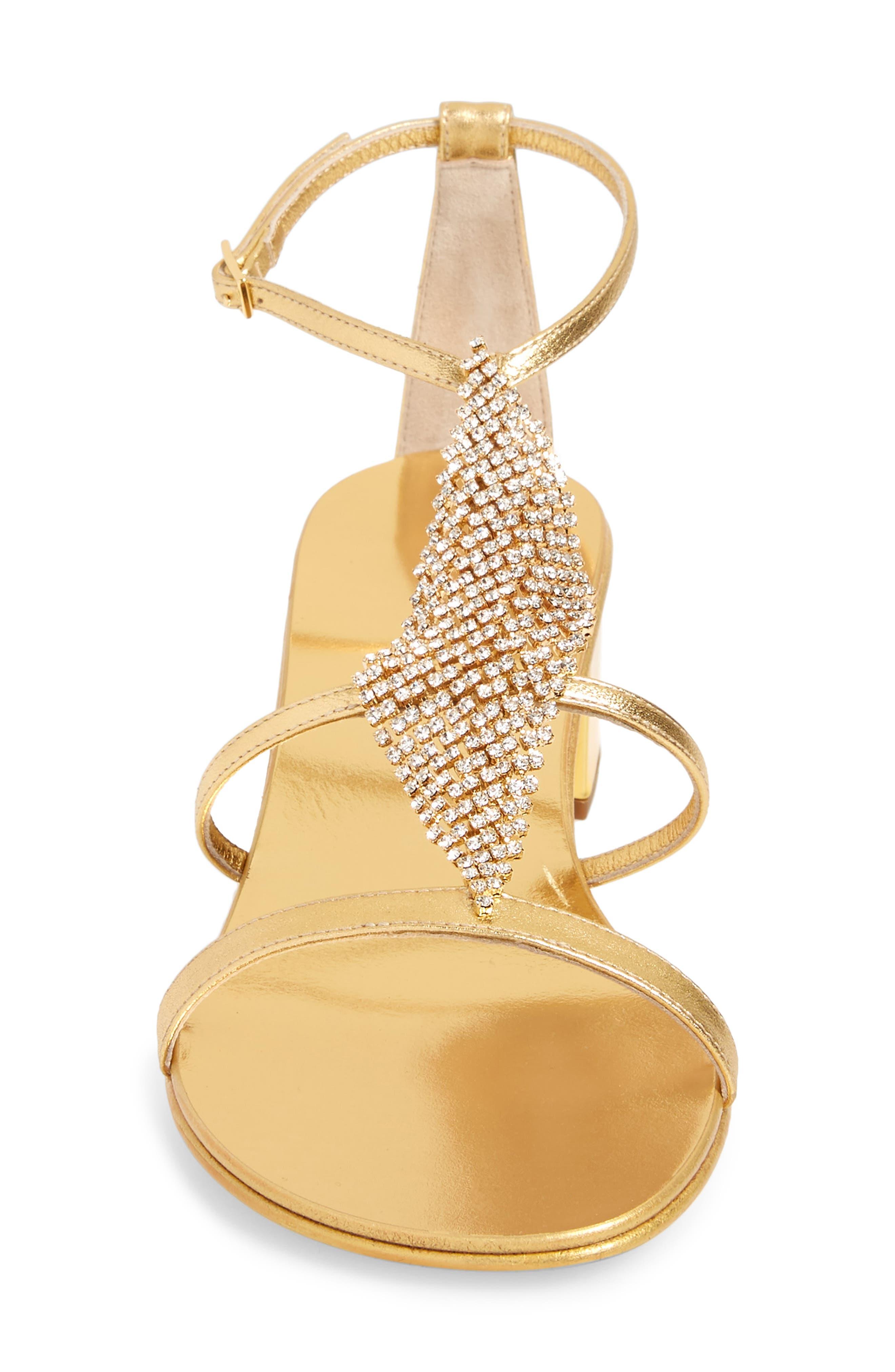 ,                             Crystal Embellished Metallic Sandal,                             Alternate thumbnail 4, color,                             GOLD