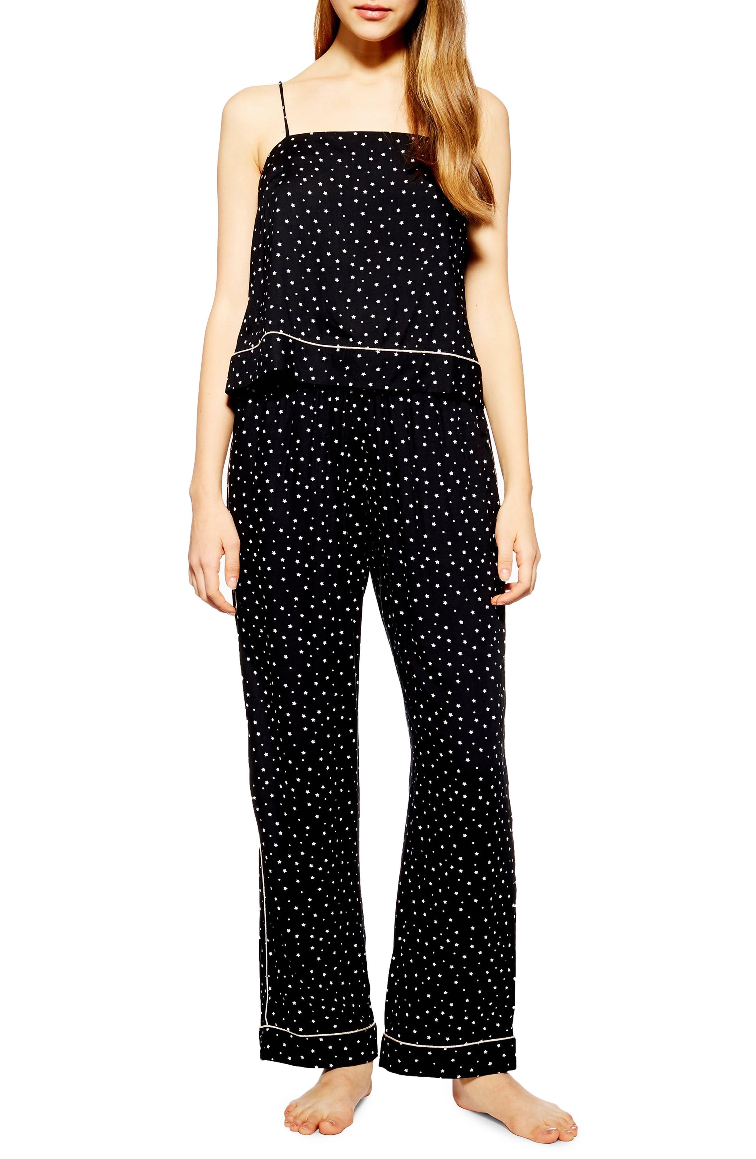 ,                             Star Print Pajama Pants,                             Main thumbnail 1, color,                             001