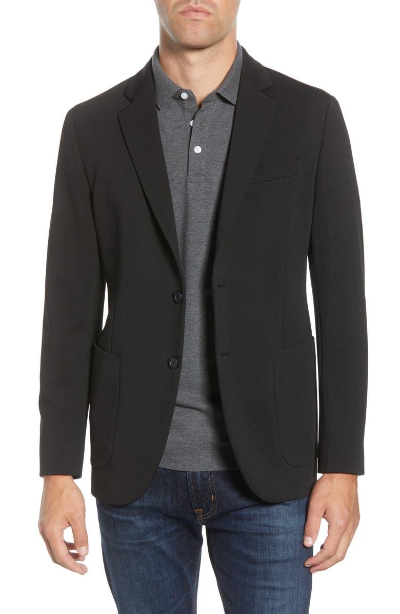 NORDSTROM MEN'S SHOP Regular Fit Knit Sport Coat, Main, color, BLACK CAVIAR