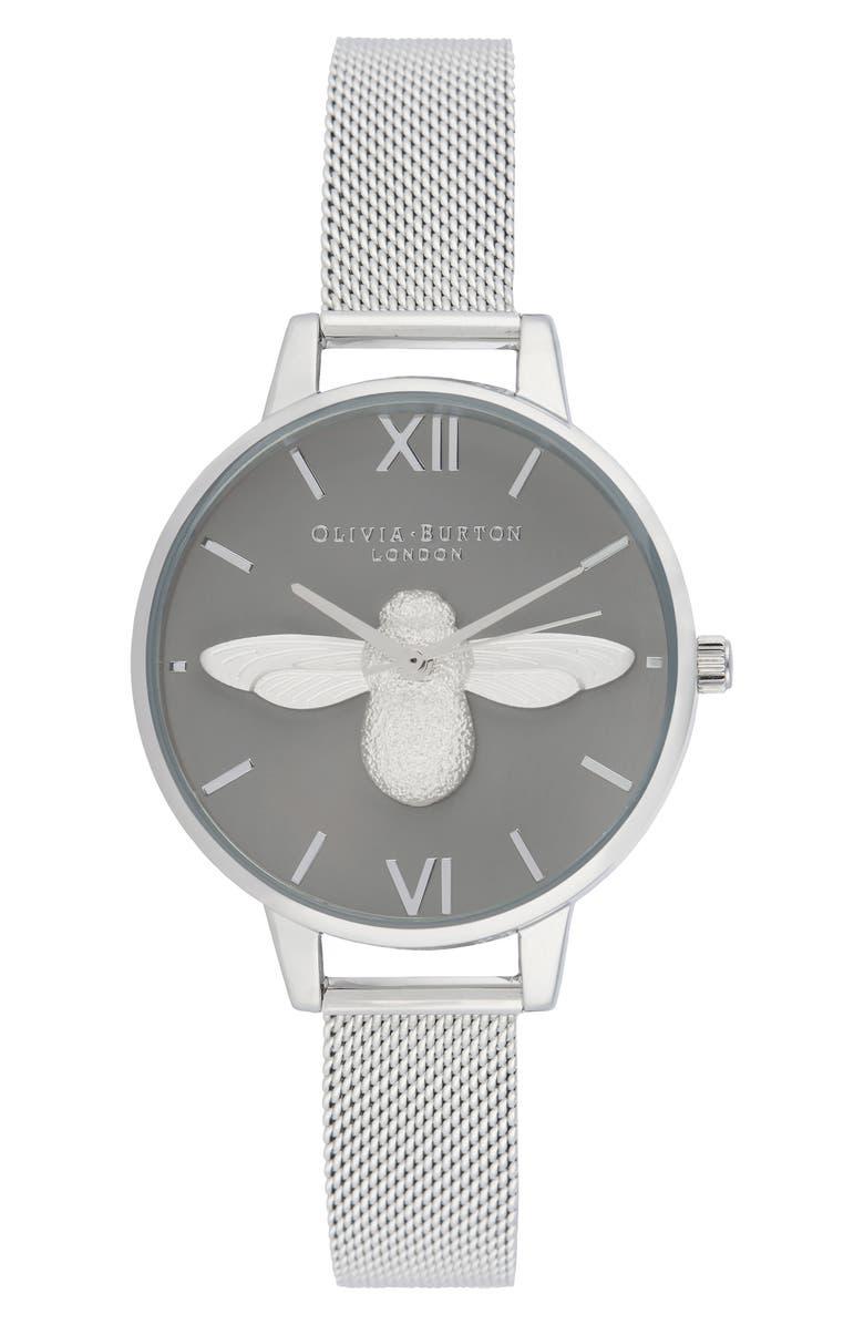 OLIVIA BURTON 3D Bee Mesh Strap Watch, 34mm, Main, color, 040